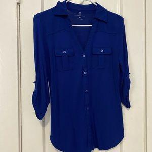 Cobalt blue button up dress shirt.